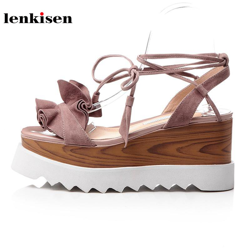 Lenkisen 2018 new arrival square toe platform lace up sheep suede causal shoes wedges high heels summer preppy women sandals L29