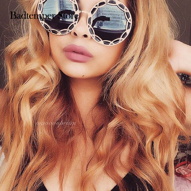 7e9bfdbcaa Badtemper Fashion design round metal frame sunglasses Personality border  colorful flowers sun glasses Modern girl retro