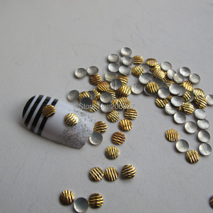200 шт. милые S-20 4 мм Дизайн ногтей Золотые круглые металлические нуля стержня Дизайн ногтей украшения