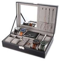 Multifunctional Watch Jewlery dispaly Box PU Leather Watch Earring Ring Necklace Cases Storage Casket Display Holder TOP quality