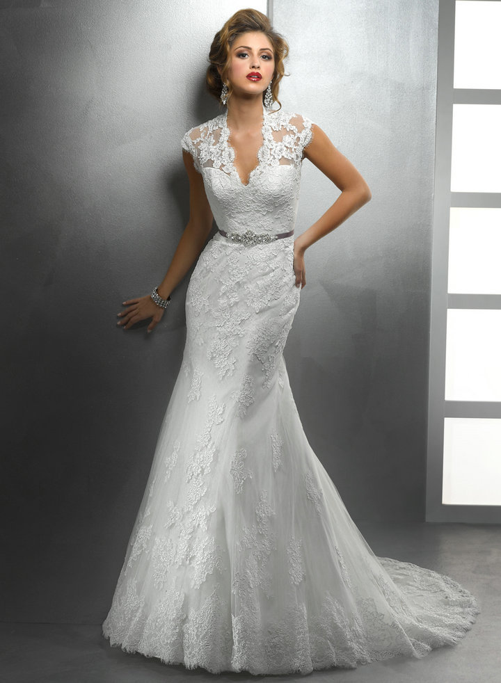 new arrival sweep train beautiful designer see through neckline sexy lace wedding dresses keyhole back 2014