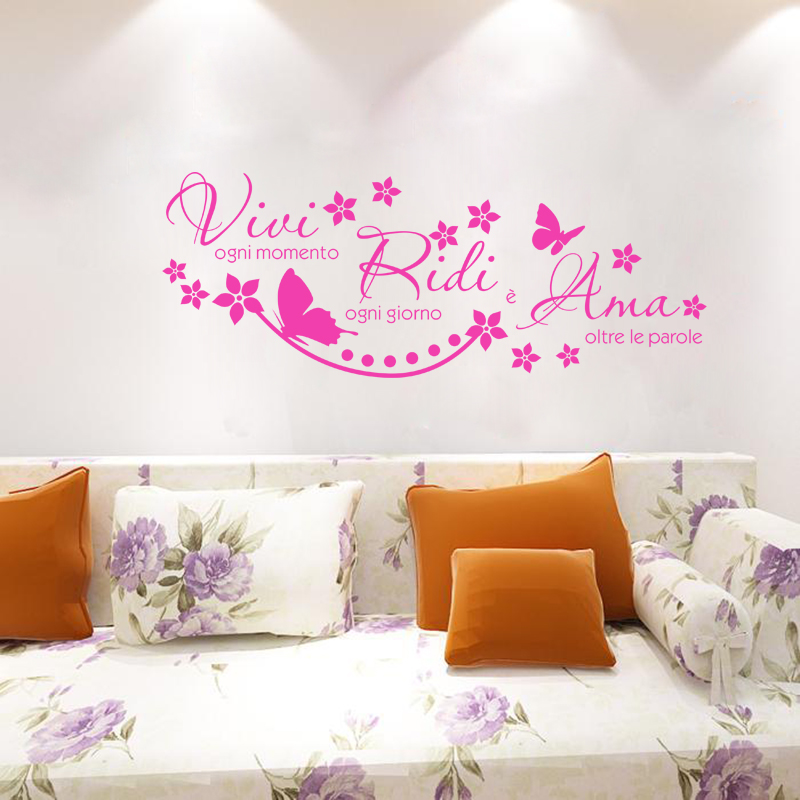 Italian Quote Vivi Ogni Momento Vinyl Wall Stickers Art Decal Wallpaper Living Room Home Decor Poster House Decoration