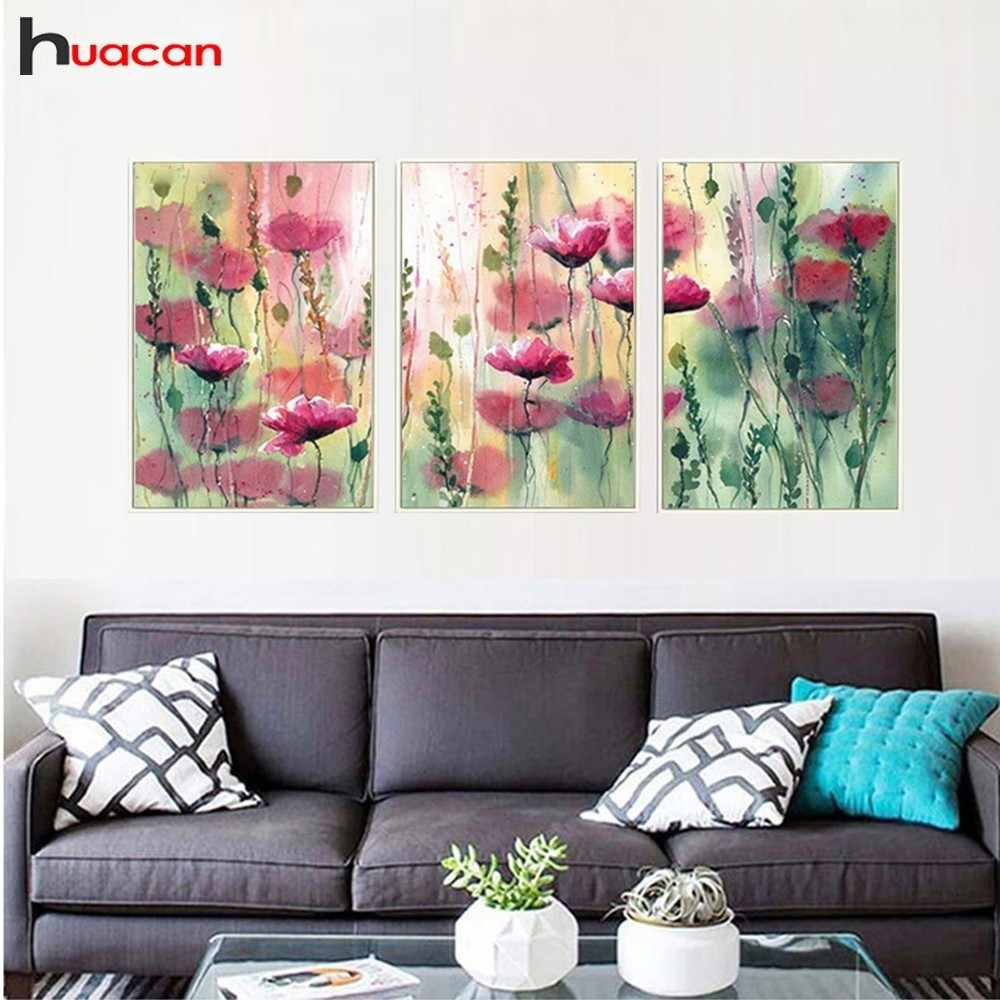 HUACAN Multi-picture 5D DIY Diamond Painting Triptych 3pcs Diamond Painting Flower Diamond Mosaic Peony Handmade Decoration Home