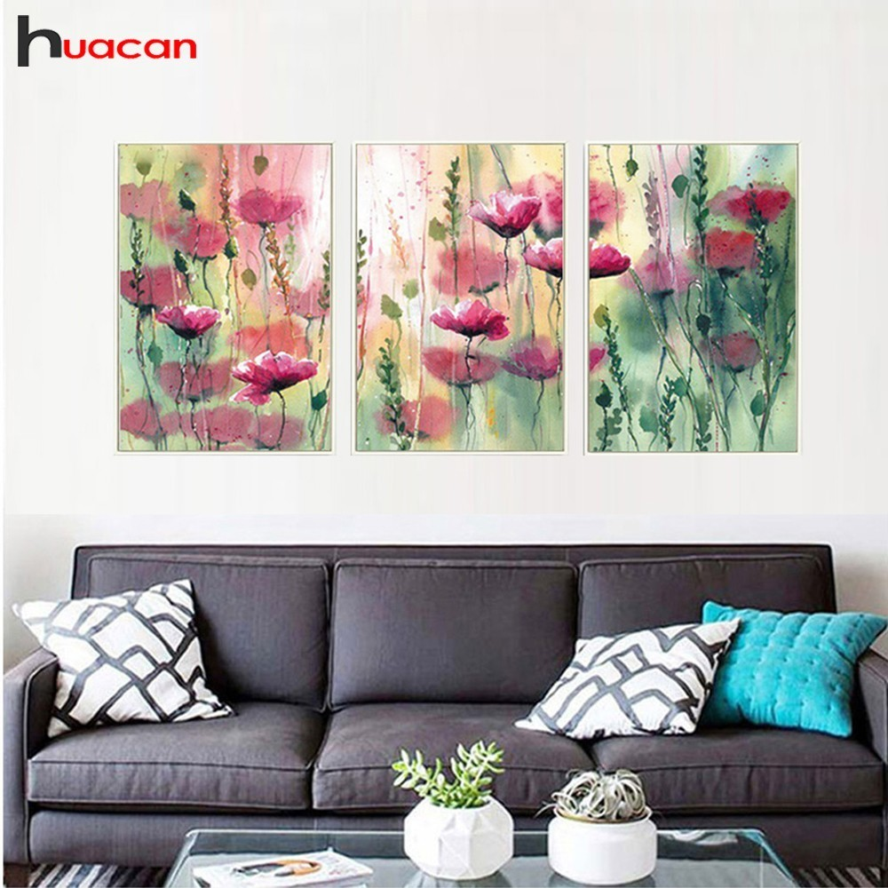 HUACAN Multi-picture 5D DIY Diamond Painting Triptych 3pcs Diamond Painting Flower Diamond Mosaic Peony Handmade Decoration HomeHUACAN Multi-picture 5D DIY Diamond Painting Triptych 3pcs Diamond Painting Flower Diamond Mosaic Peony Handmade Decoration Home
