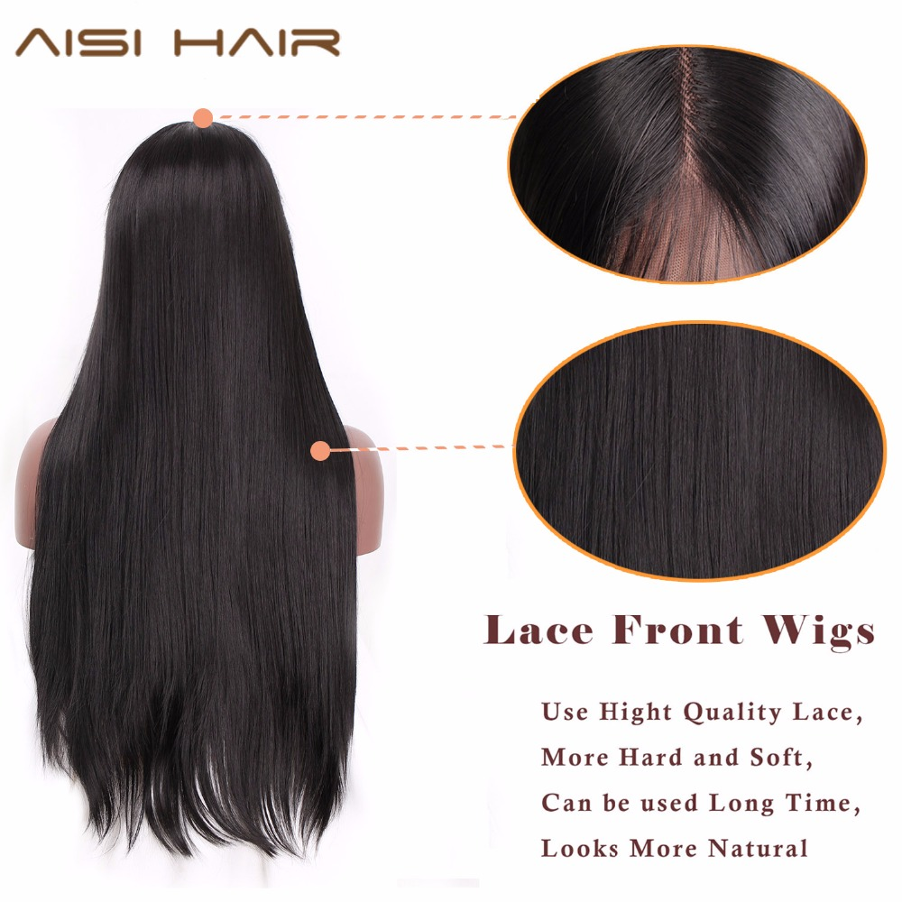 Image 3 - AISI HAIR 26 Inches Long Black Wig Straight Synthetic Lace Front Wigs for  Women Natural Color Heat Resistant Futura Hair-in Synthetic Lace Wigs from Hair Extensions & Wigs