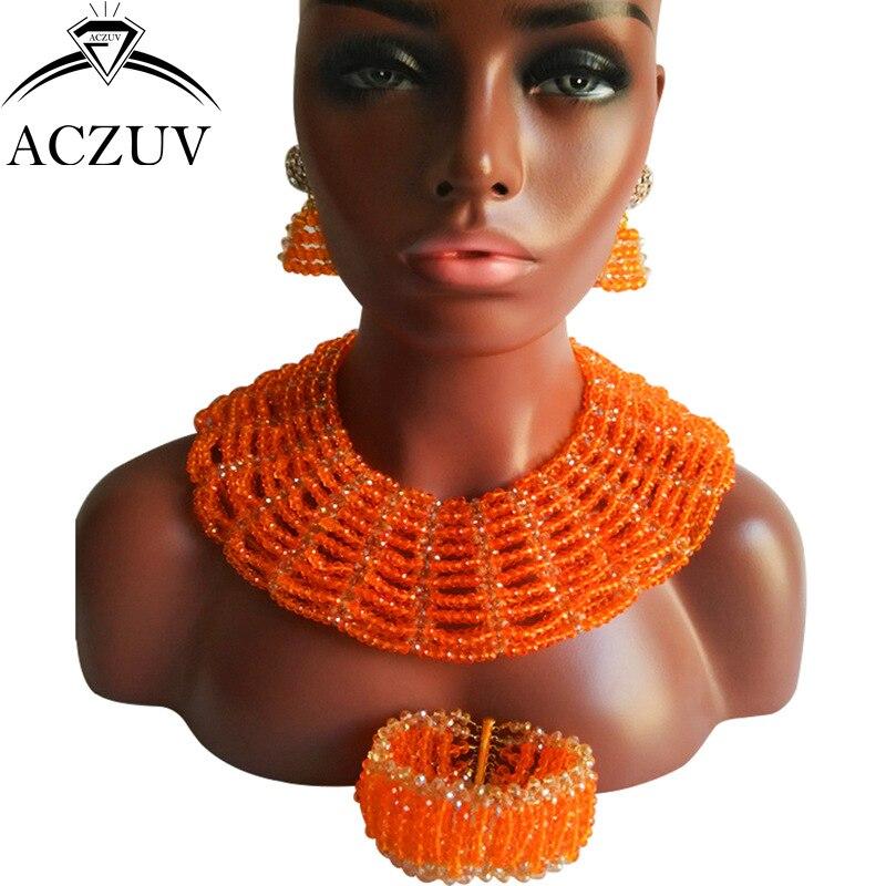 ACZUV Brand African Orange Beads Jewelry Set for Women Ladies Nigerian Wedding Accessories AS019ACZUV Brand African Orange Beads Jewelry Set for Women Ladies Nigerian Wedding Accessories AS019