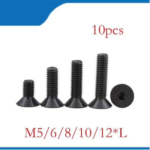 M5 black 10pcs M5 M6 M8 M10 M12 mm flat head countersunk head black grade 10.9 Alloy Steel Hex Socket Head Cap Screw nails,bolts ksol m6 x 70mm threaded 1mm pitch hex socket head cap screws bolts 5 pcs