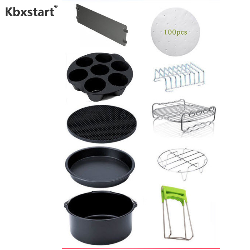 Kbxstart friteuse electrique 10pc/set Phillips Air Fryer Accessories XL Deep Fryer Universal Fit For 5.2 5.8QT 8 Inch Diameter