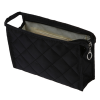 5 Pcs Of SODIAL R Black Grid Pattern Cosmetic Make Up Small Zippered Bag