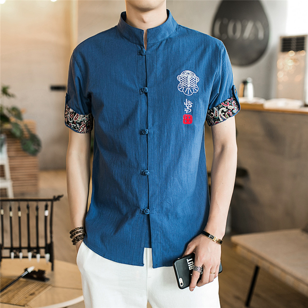 LEFT ROM 2018 Summer linen five-point sleeves mens shirt button-down embroidered shirt man/fashion high-grade slim fit shirts ...