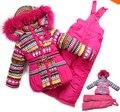 XT-118 Inverno das Crianças Conjuntos de Roupas de Bebê Menina Terno de Esqui Esporte Ao Ar Livre Define Conjuntos de Roupas Garoto Quente Jackets Brasão + Calças jardineiras + Colete