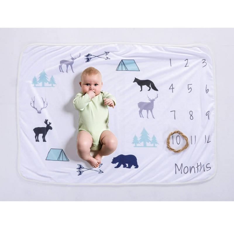 0 12 Month Newborn Baby Milestone Photo Blanket Month Growth Record Wrap Towel Photo Blanket in Blanket Swaddling from Mother Kids