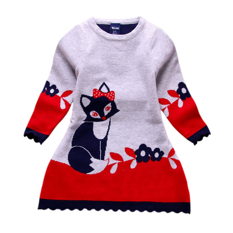 Autumn Winter Kids Fox Printed Sweater Dress Double-layer Long-Sleeve Thick Girl Fox Dress for Children 4-8 Years image