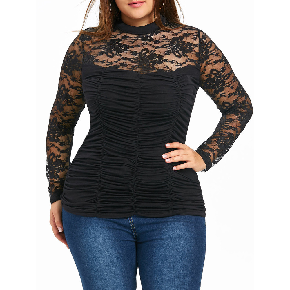 Plus Size 4xl Women Blouses perspective Lace Up Tops Women Folds Clothing Sexy Lace Crochet Sheer Mesh Blouse Shirts Big Size Блузка