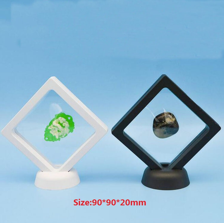 90x90x20mm Black white Jewelry Floating Suspended Display Case Coins Gems Artefacts Stand Holder Box for Jewelry