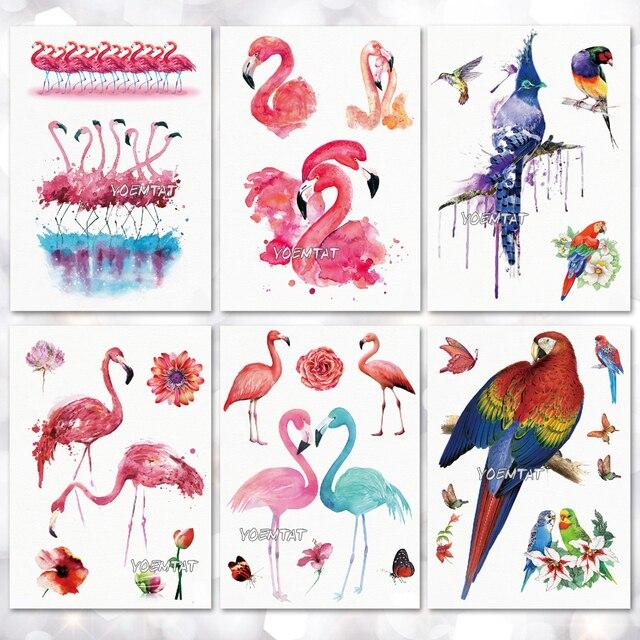Водонепроницаемый Временные татуировки Стикеры Фламинго узор татуировки переноса воды боди-арт поддельные татуировки для мужчин и женщин