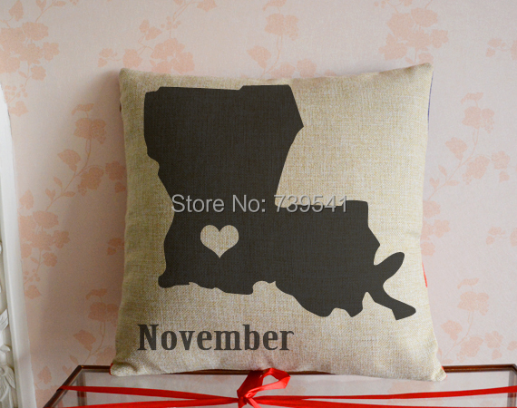 Personalized louisiana Pillowcase Custom state map pillow set Linen cotton home sofa decor Graduation gift 18*18 inches