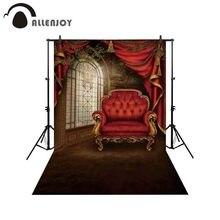 Fondo de fotografía profesional Allenjoy vintage habitación impreso ventana sillón rojo retro cortinas de fondo photobooth
