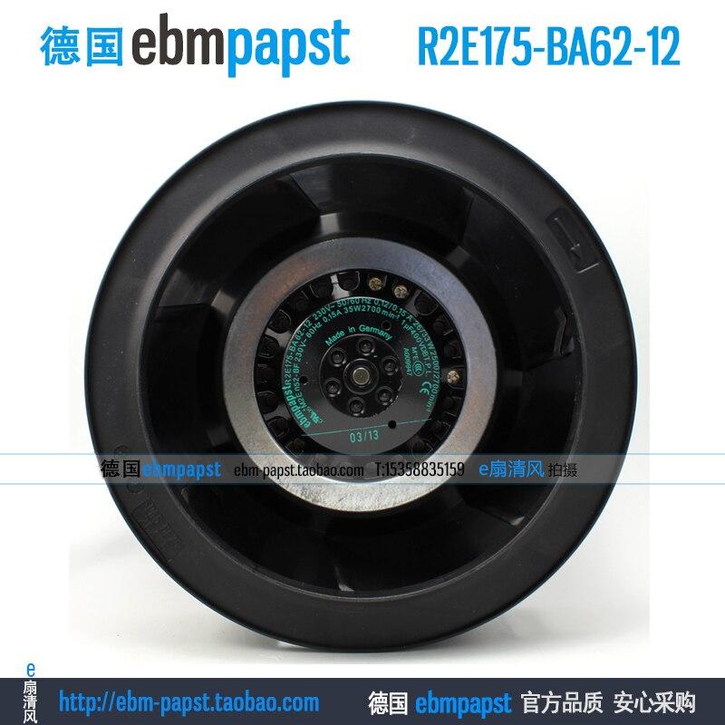 New original ebmpapst R2E175-BA62-12 AC 220V 0.12A 0.15A 26W 33W 175X175mm Turbo centrifugal cooling fan original germany ebmpapst r1g225 af11 30 48v 36 57v 95w centrifugal cooling fan