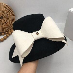 Image 5 - 英国社交ヘップバーン風小大つばファッションショー顔流域帽子ちょう結び日本人女性秋洞小さな漁師