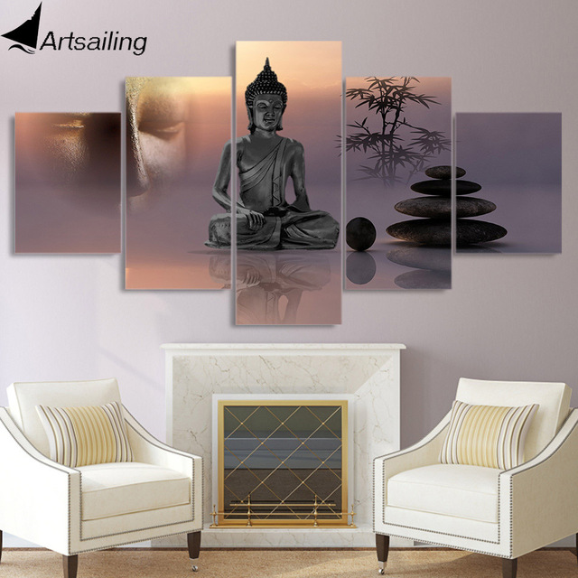 5 Piece Canvas Painting Zen Buddha Statue Menditation Posters And