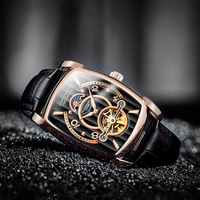 GUANQIN Mechanical Watches Luxury Watch Men Tourbillon Automatic Square Skeleton Watch 2018 Male Clock Relogios dropshipping