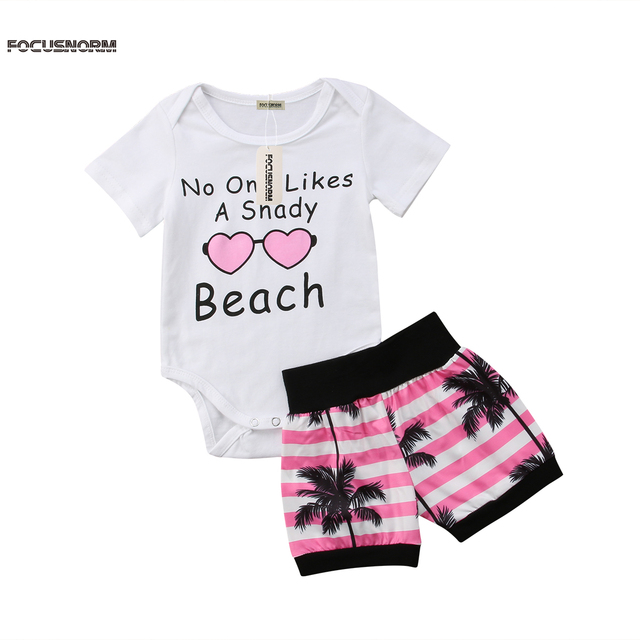 9f93897a5105 Cute Beach Newborn Baby Boy Girl Clothes Letter Print Short Sleeve Romper  Tops Coconut Tree Striped Shorts Summer Outfit New Set