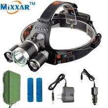 1 Cree XML T6 2 R5 Led Faro Linterna Frontal Del Faro 9000LM 4 Modos Linterna de Cabeza para Caza Pesca lámpara LED 18650 Cabeza lámpara