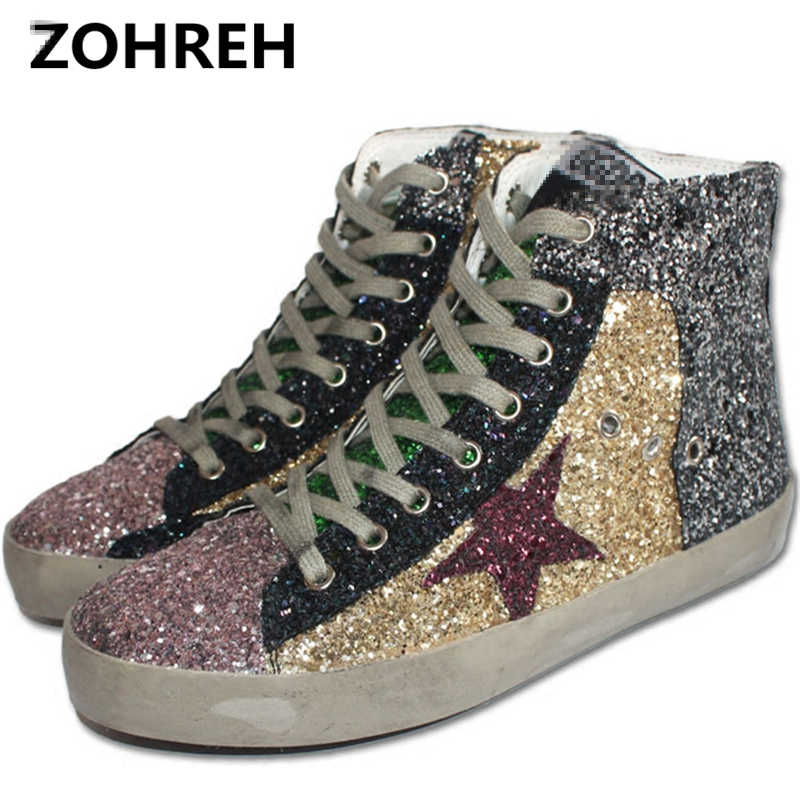 ZOHREH 2018 Women Casual Shoes High Top Do Old Dirty Shoes Mixed Color  Women Sequins Golden ed014abbb4ba
