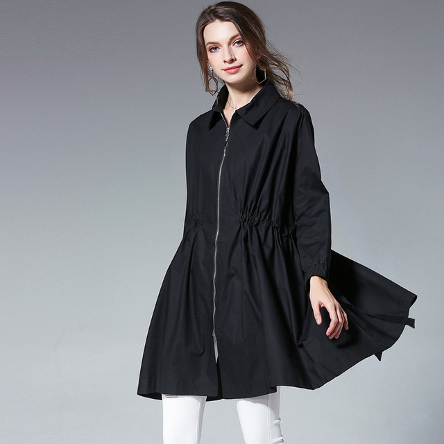 Large size ladies' loose Draped drawstring thin zipper wind coat womens turn down collar plus size long sleeve Elegant coat