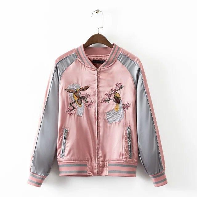 Aliexpress.com : Buy Syin flower Bird Embroidery pink silk bomber ...