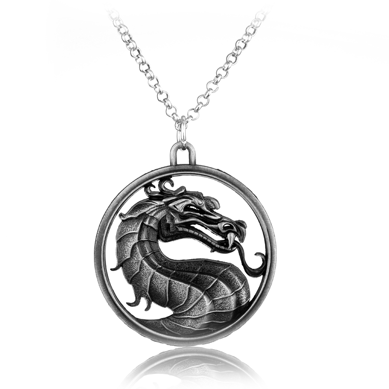 Classic Fighting Games Mortal Kombat Necklace Dragon Jane Empire Vintage Pendant Movie Jewelry For Men and Women