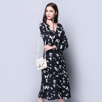 100 Silk Crepe Dress Classic Black Color Office Lady Spring Dresses Birds Printed Pattern