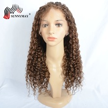 Sunnymay Full Lace Human Hair Wigs #4 Color Loose Curly Malaysian Remy Hair Pre Plucked Natural Hairline Bleached Knots