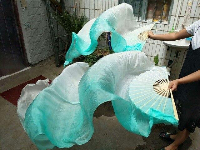 Hot Bán Cổ Điển 180 cm Múa Bụng Fan Mạng Che Mặt Màu Trắng Bạc Hà Dọc Gradient Nhuộm Vũ Công Thực Hành Fan Đối Với Phụ Nữ Cô Gái