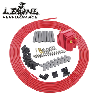 LZONE - 10m/set Spark Plug Wires Spiral Core 8.5mm + 12V E-Core Ignition Coil For Chrysler Hemi Pro Stock For Ford Dodge Set