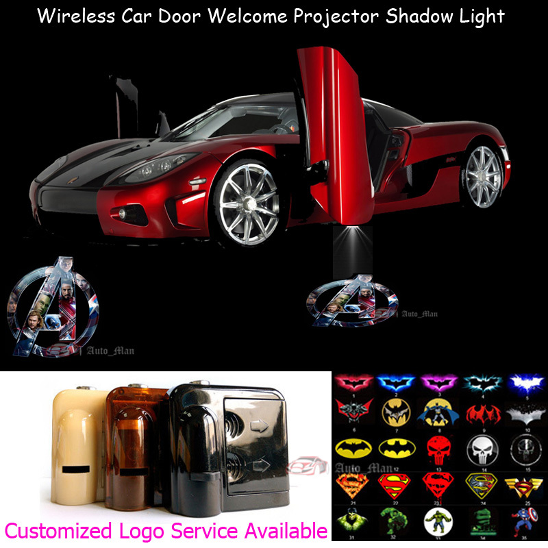 2x Wireless Sensor No Drilling Car Door Welcome 3D Marvel The Avengers Logo Laser Projec ...