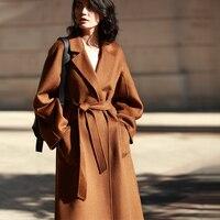 IRINAW901 Новое поступление 2018 классический халат стиль поясом длинные ручной работы двусторонний шерсть кашемировое пальто женские