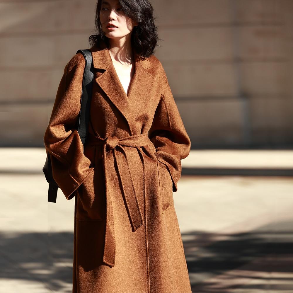 Irinaw901 Double Laine Classique marron Long Nouvelle Arrivée À Main Face Manteau La 2018 Cachemire Femmes kaki Ceinturé Noir Robe Style FKJl1c5T3u