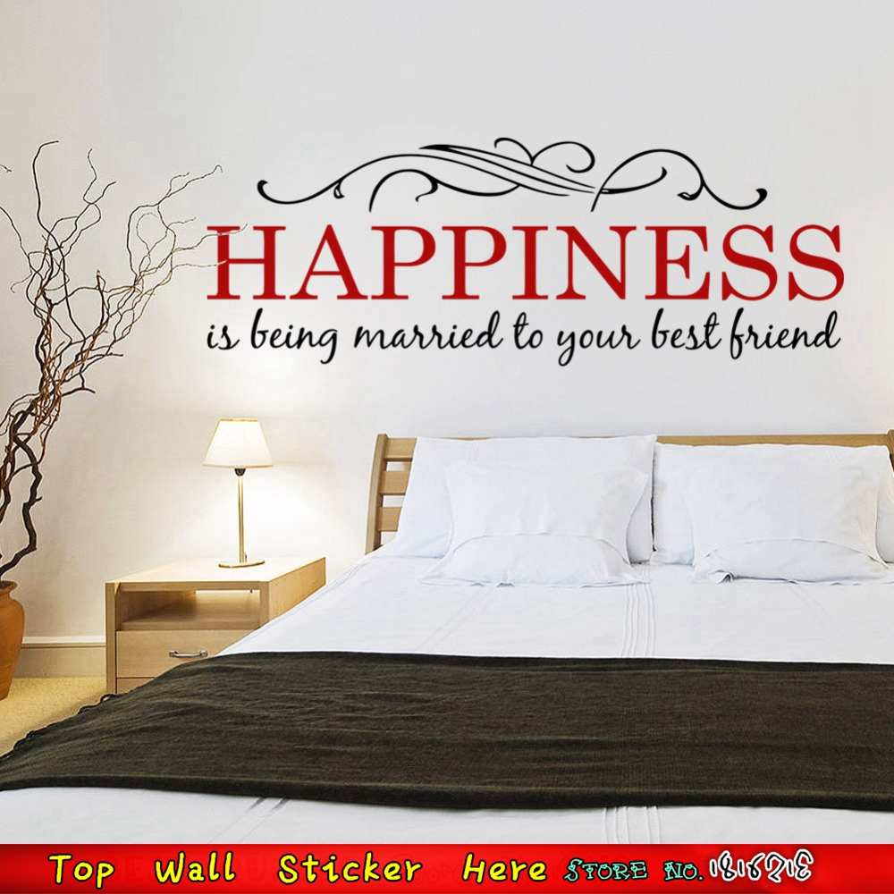Happiness married love family quotes wall stickers for for Living room decor quotes