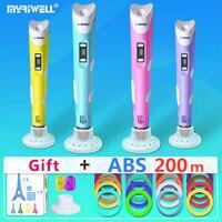 Myriwell 3d ручки + 20*10 м ABS нити, 3 d Ручка 3d модель, Creative3d ручка doodler, лучший подарок для детей, 3d Рисунок pen-3d ручка