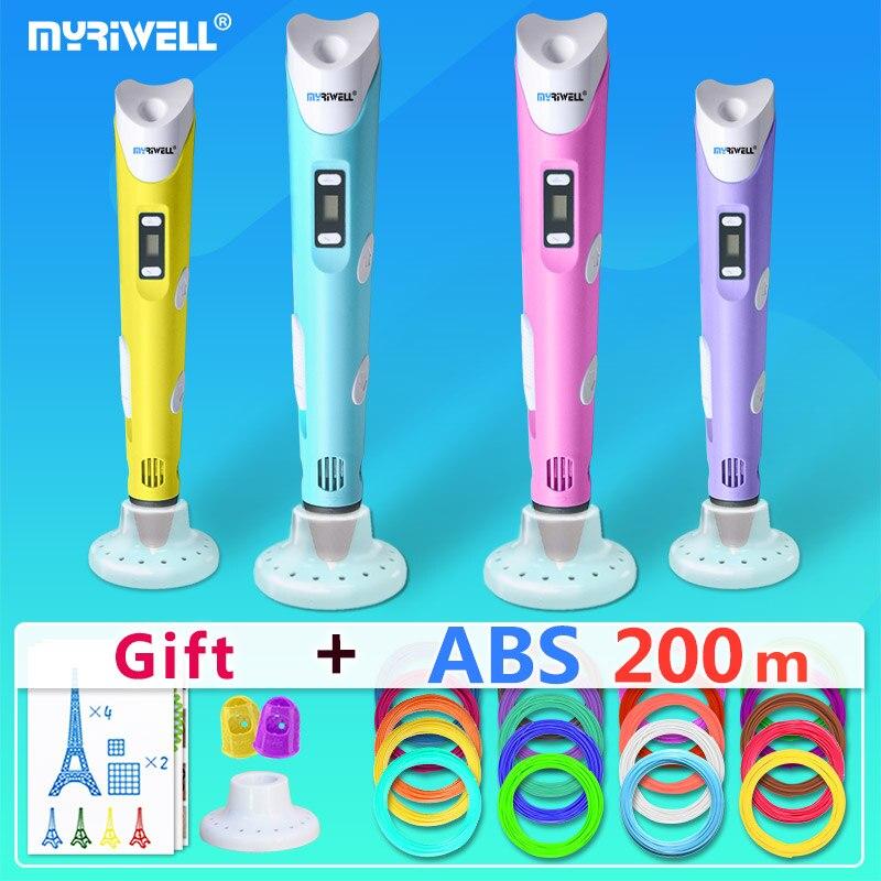 Myriwell 3d plumas + 20*10 m ABS filamento pluma 3 d 3d modelo creative3d pluma doodler mejor regalo para los niños 3d dibujo pen-3d pluma