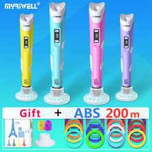 myriwell 3d pens + 10 * 5m ABS Filament, 3 d pen model,Creative3d doodler,Best Gift for Kids,3d drawing pen-3d
