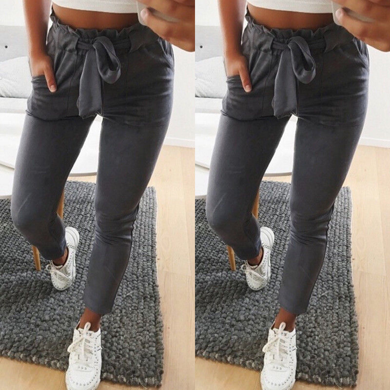 2019 Women Sexy arrival Striped Slim Skinny Casual High Waist Pencil Long Pants Trousers Flat Drawstring Bodycon Solid Pants 23