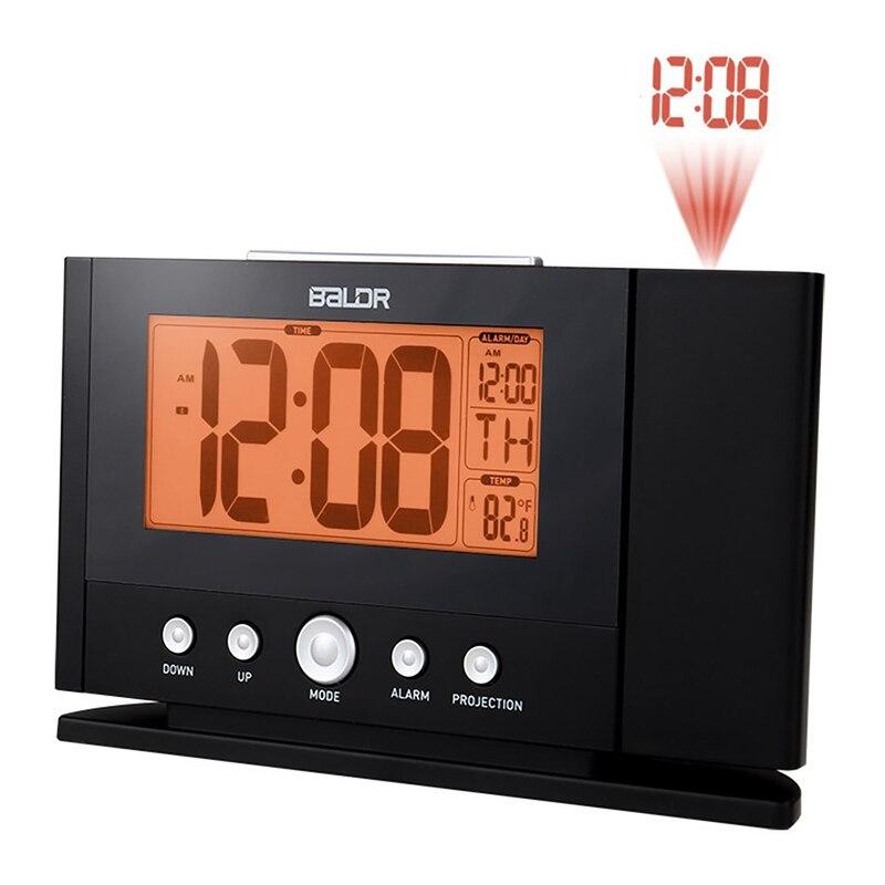 Baldr Proiezione Sveglia con Proiettore a Parete Digital Clock Snooze Temperatura Costante di Tempo Monitor con Retroilluminazione Arancione