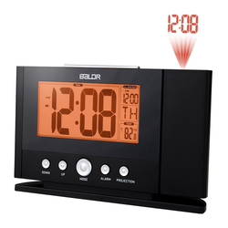 Baldr Projection Alarm Clock with Constant Time Projector to Wall Digital Snooze Clock Temperature Monitor with Orange Backlight