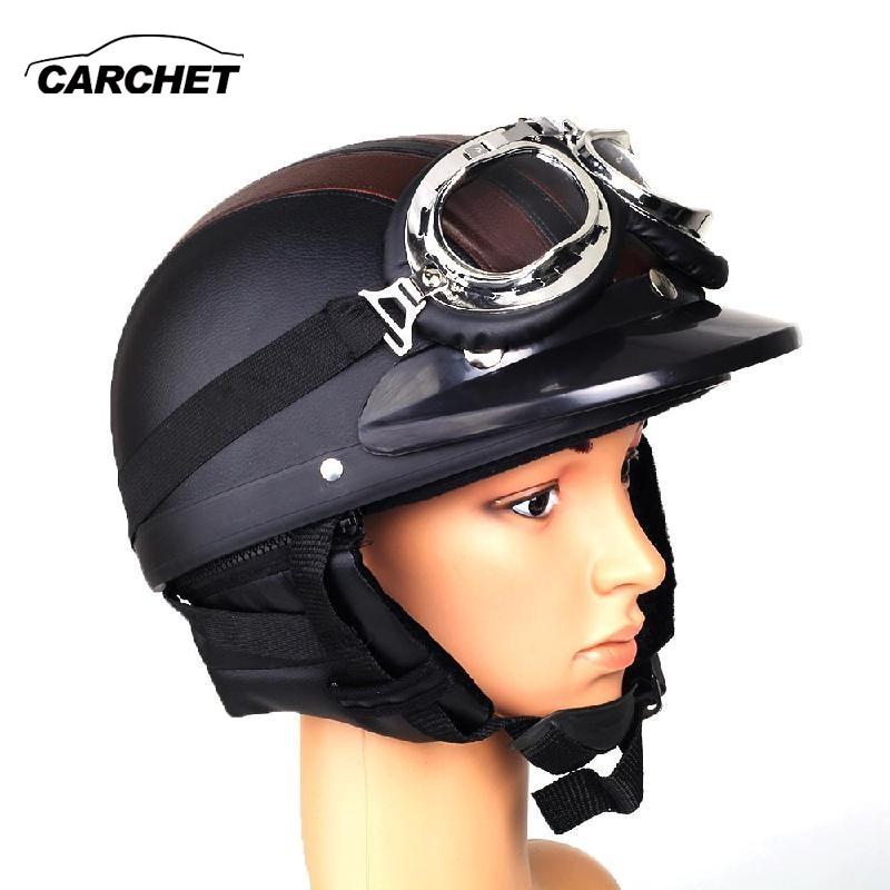 CARCHET Retro Motorcycle Helmet Open Face Detachable Helmets With Visor Goggles Adjustable Black Brown Helmet FREE