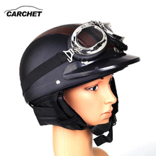 CARCHET Retro Motorcycle Helmet Open Face Detachable Helmets With Visor Goggles Adjustable Black&Brown FREE SHIPPING NEW