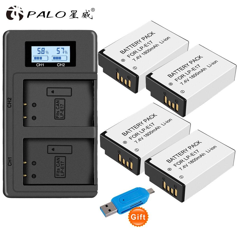 PALO 4 pièces LP-E17 LPE17 Caméra Rechargeable Batterie + 1 Chargeur Pour appareil photo Canon EOS 200D M3 M5 M6 750D 760D T6i T6s 800D 8000D Baiser X8i