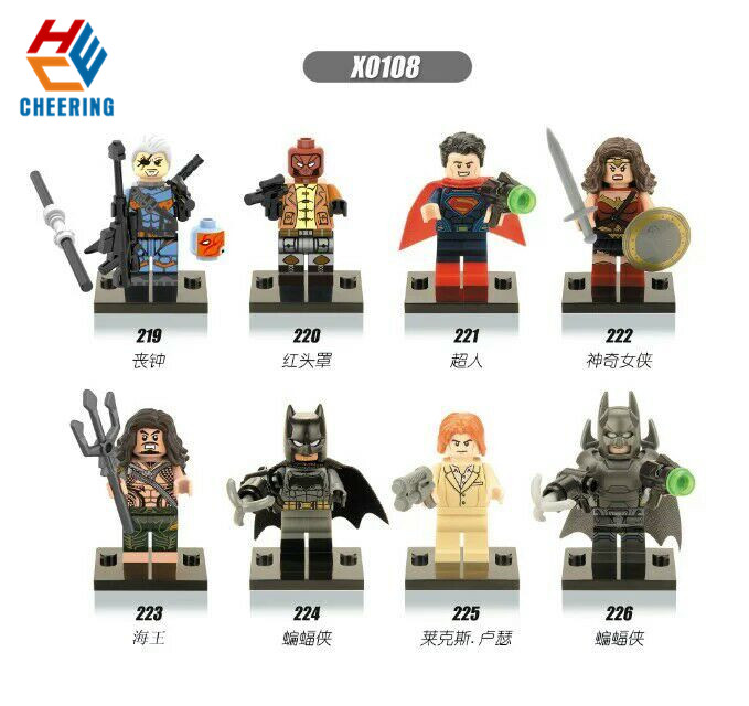 X0108 Single Sale Super Heroes Deathstroke Red Hood Aqua Man Pirates Batman  Woman Superman Building Blocks Gift Toy Model